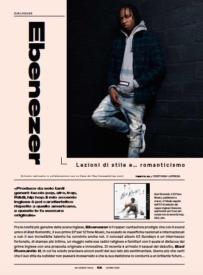 Ebenezer Billboard Italia giugno 2020