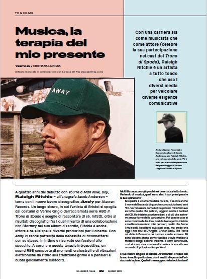 Raleigh Ritchie Billboard Italia giugno 2020
