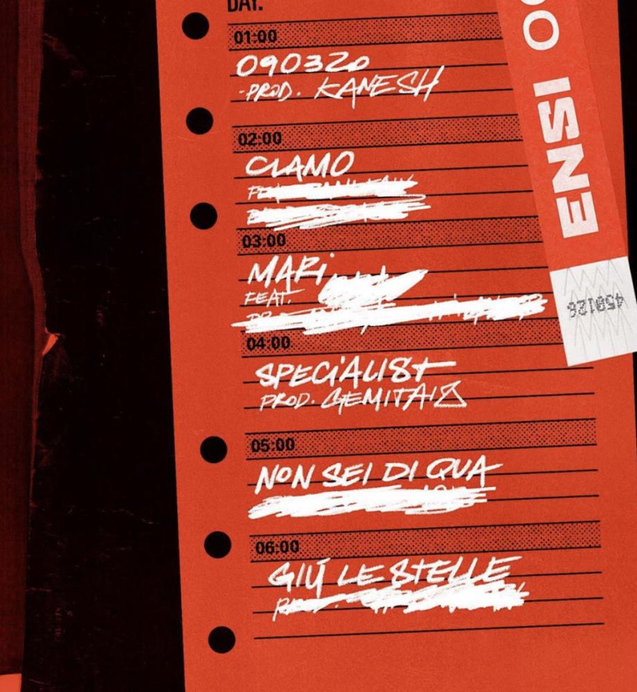 Tracklist nuovo EP di Ensi