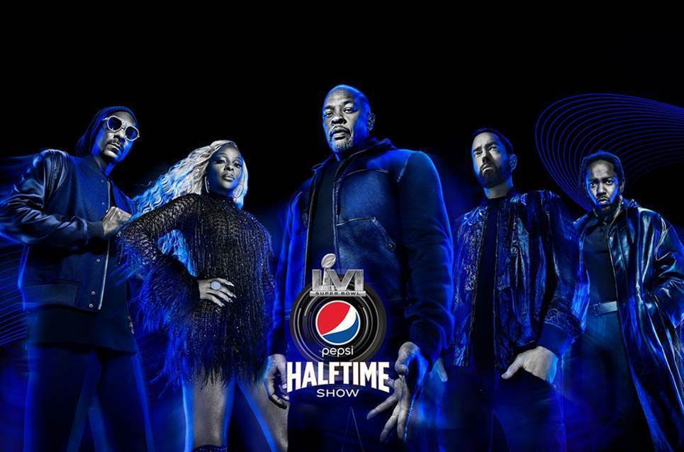 Super Bowl 2022 Eminem, Dr. Dre, Snoop Dogg, Mary J. Blige, Kendrick Lamar.